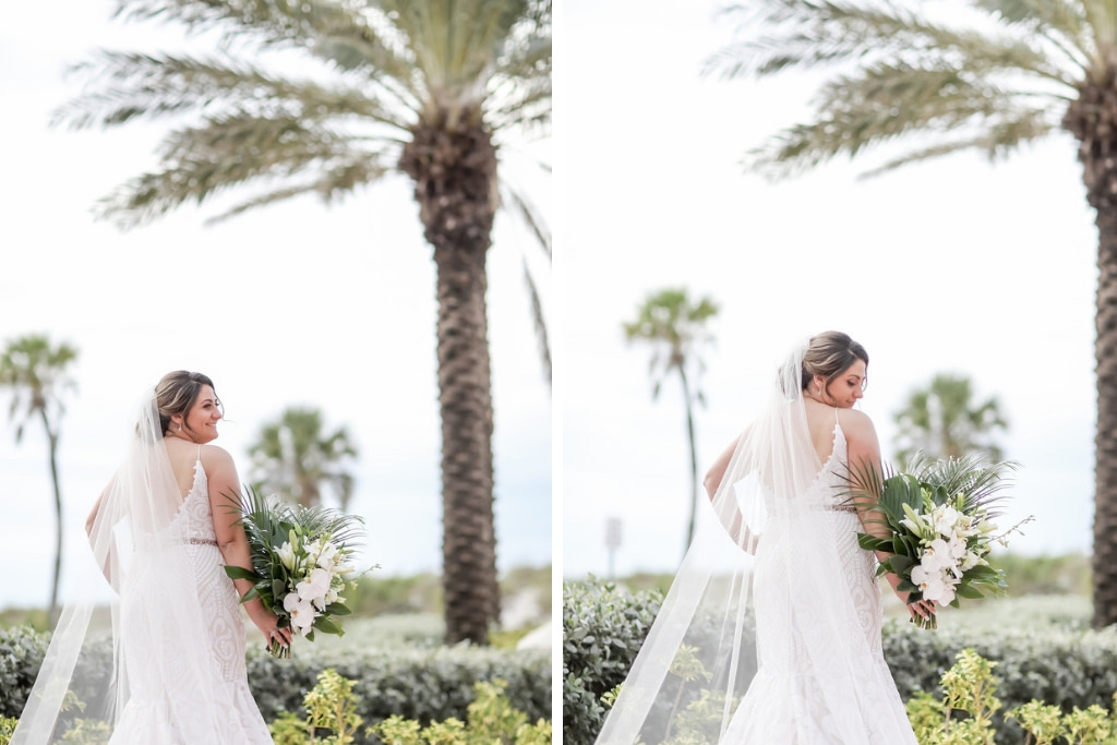 Clearwater Beach Florida Bride Tropical Elegant Wedding Portrait, Palm Tree Leaves and White Orchid Floral Bouquet   Tampa Bay Wedding Photographer Lifelong Photography Studios