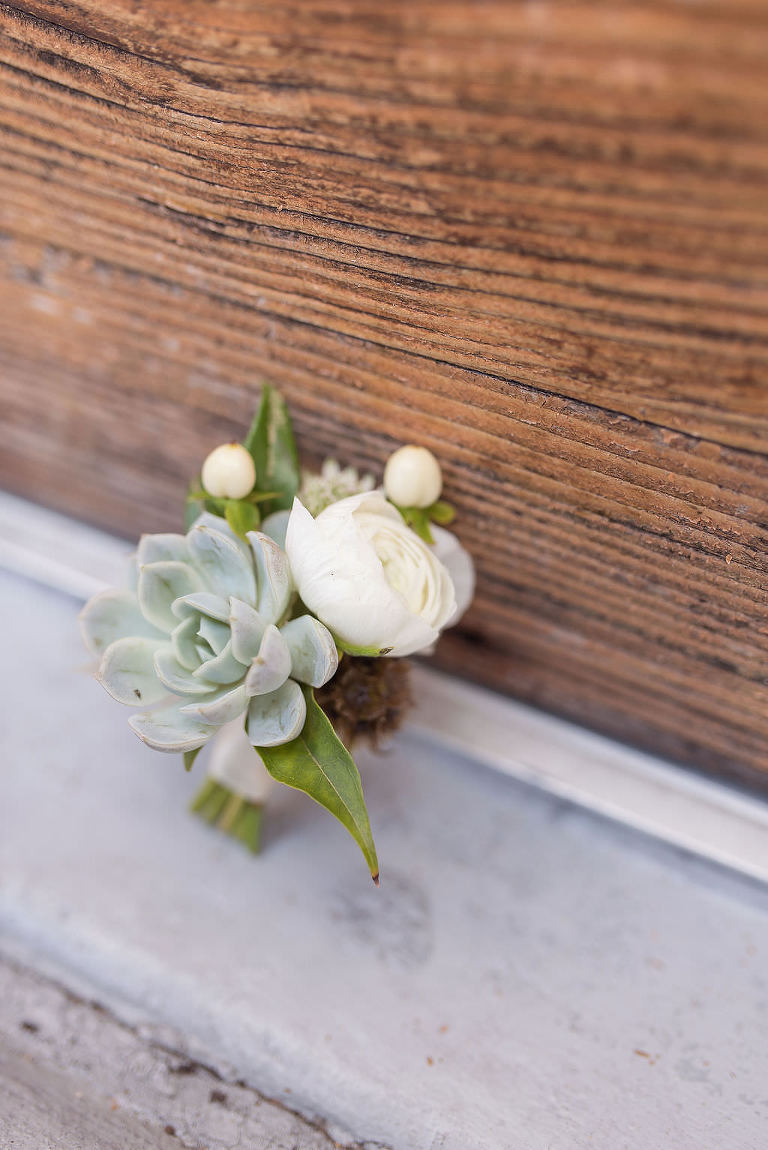 Classic Neutral White Rose and Succulent Groom Wedding Boutonniere | Tampa Bay Wedding Photographer Kristen Marie Photography | Clearwater Wedding Florist Gabro Event Services