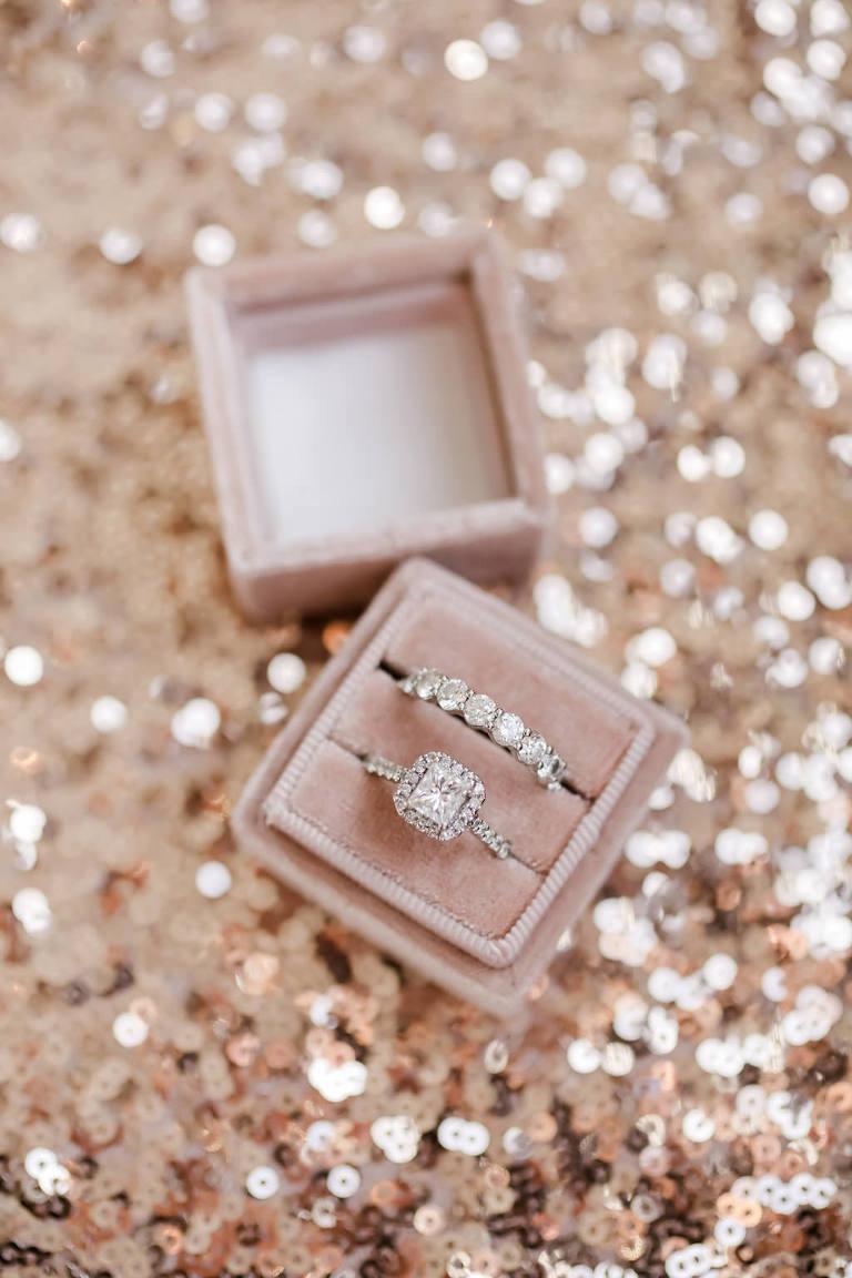 Princess Cut and Halo Engagement Ring and Diamond Bride Wedding Band in Velvet Blush Pink Ringbox | Tampa Bay Wedding Photographer Lifelong Photography Studio