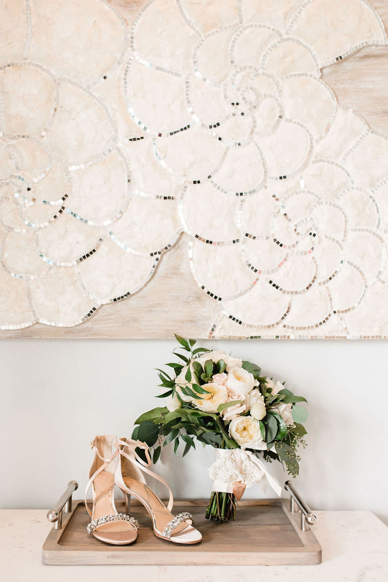 Strappy Rhinestone Champagne Wedding Heels with Ivory and Peach Rose Bridal Wedding Bouquet