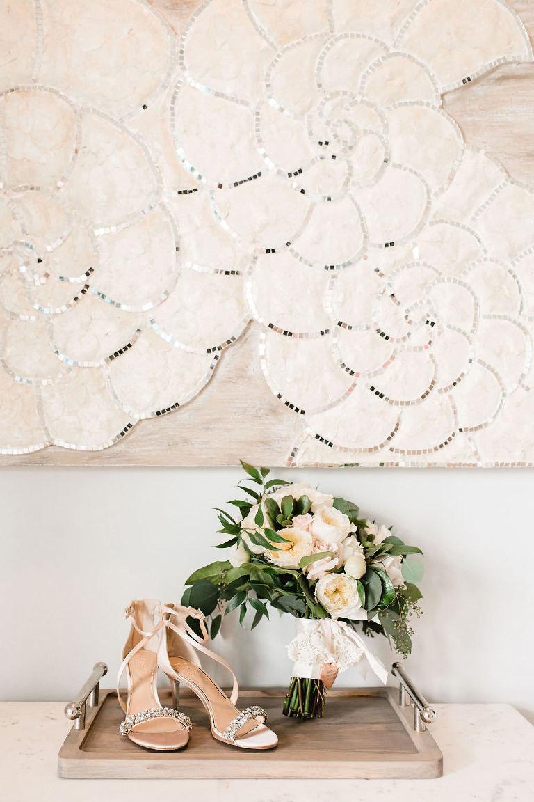 Strappy Rhinestone Champagne Wedding Heels with Ivory and Peach Rose Bridal Wedding Bouquet