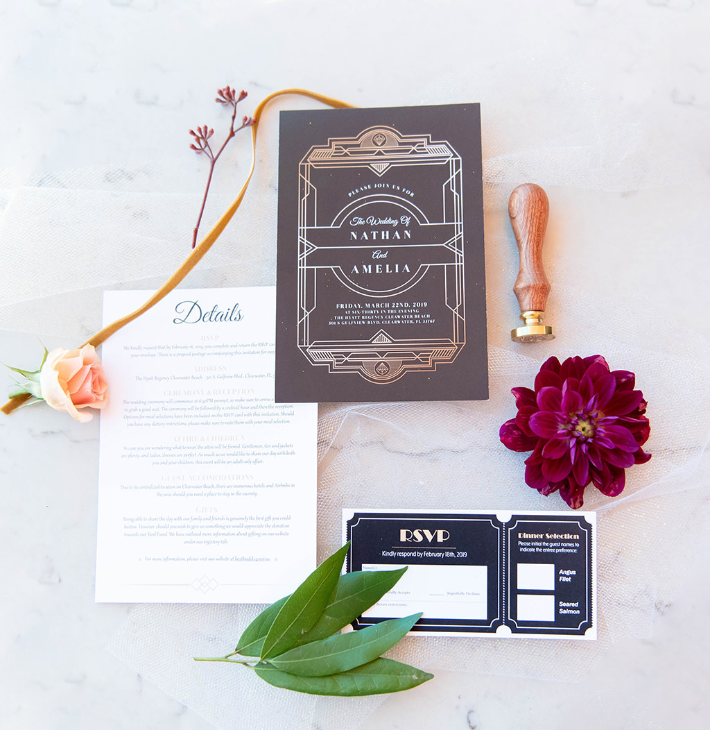 Classic Old Hollywood Inspired Wedding Invitation Suite