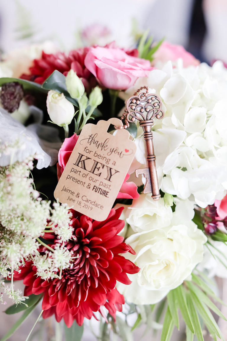 Colorful French Country Inspired Burgundy, Red, Pink, And White Hyandrangea Floral Bridal Bouquet and Custom Key Wedding Favor | Tampa Bay Wedding Photographer Lifelong Photography Studio