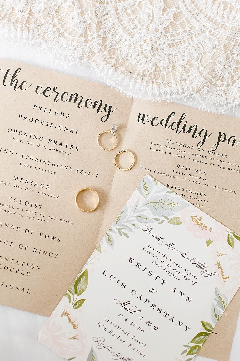 Rustic, Floral Wedding Invitation and Wedding Ceremony Program with Wedding Rings Portrait