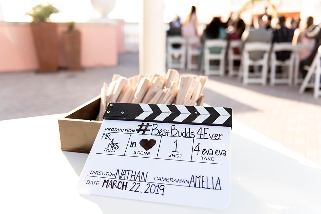 Clearwater Beach Creative Wedding Ceremony Decor, Custom Film Clapboard Welcome Sign