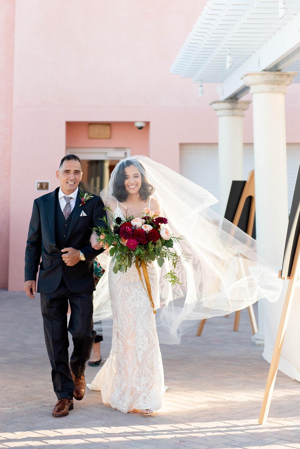 Florida Bride with Father Walking Down the Wedding Ceremony Aisle Processional with Veil Wedding Portrait | Tampa Bay Wedding Dress Shop Isabel O'Neil Bridal Collection | Galia Lahav Wedding Dress