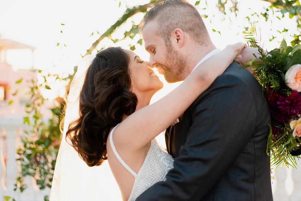 Romantic Florida Sunset Bride and Groom Wedding Portrait