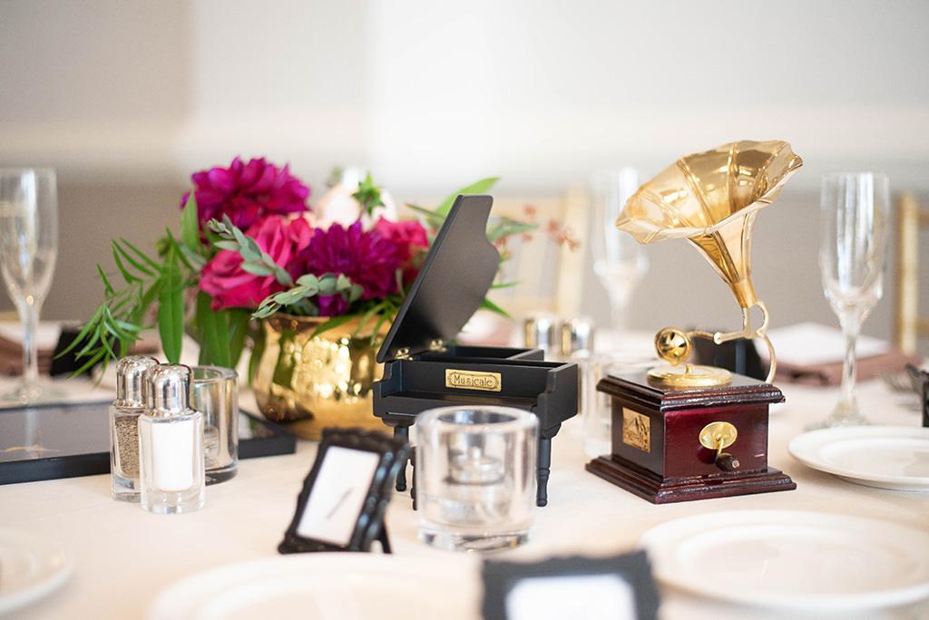 Tampa Classic Unique Music Inspired Wedding Clearwater Beach Reception Decor, Mini Piano and Mini Gramophone Centerpieces