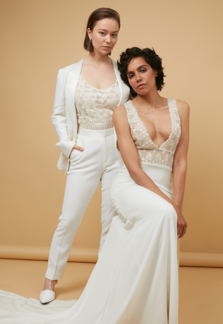 White Women's Tuxedo Wedding Bridal Suit with Lace Cami Tank | The Groomsmen Suit | Wedding Dress Trends 2019