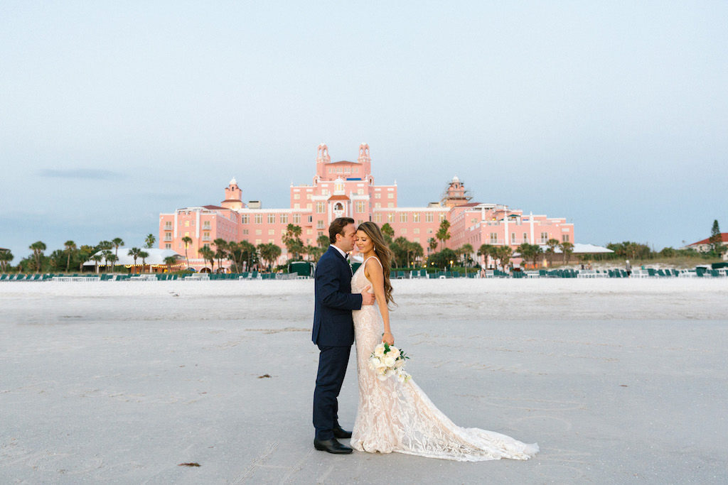 Elegant Bride and Groom Beachfront Wedding Portrait at the Pink Palace | Historic Waterfront St. Pete Beach Wedding Venue The Don Cesar