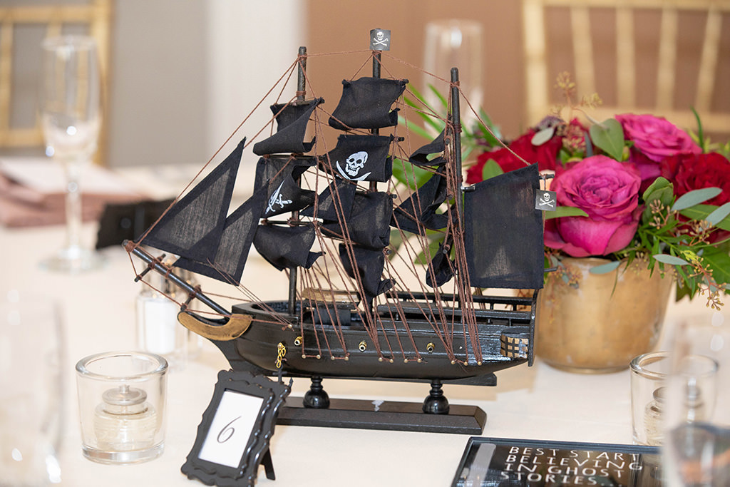 Tampa Creative Unique Wedding Decor | Clearwater Beach Wedding Reception Decor, Miniature Black Pirate Ship Centerpiece | Gasparilla Inspired Wedding