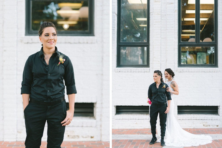 Florida Lesbian Gay Couple Outdoor Wedding Portrait, Bride in All Black Suit Shirt and Pants with Yellow Flower Boutonniere | Tampa Bay Wedding Photographer Kera Photography | Downtown St. Pete Modern Wedding Venue Red Mesa Events | Wedding Hair and Makeup Femme Akoi