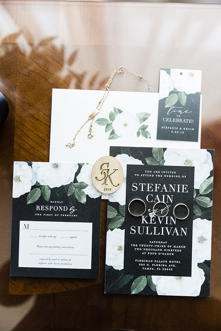 Modern Formal, Floral Wedding Invitation, Black background, White flowers, Greenery, Gold