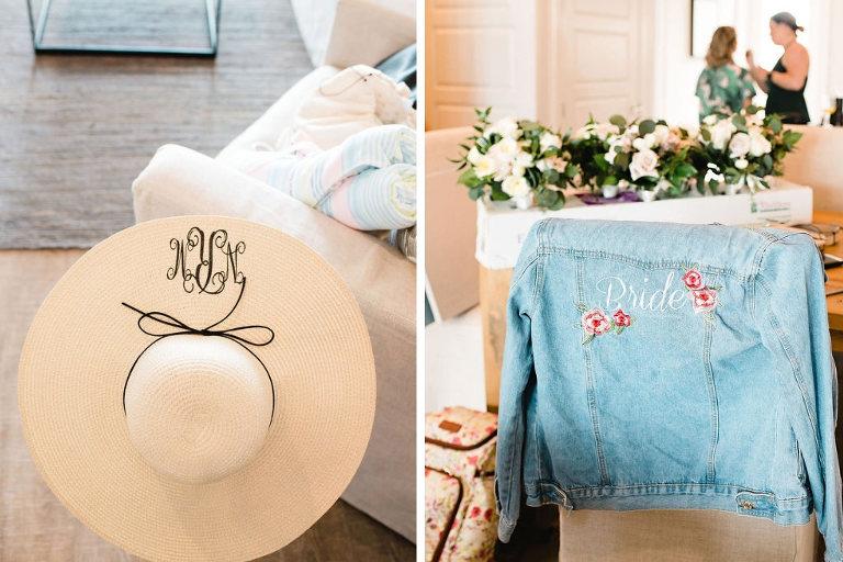 Bride Wedding Accessories | Monogram Bridal Wide-Brimmed Sun Hat | Custom Bride with Floral Detail Jean Jacket