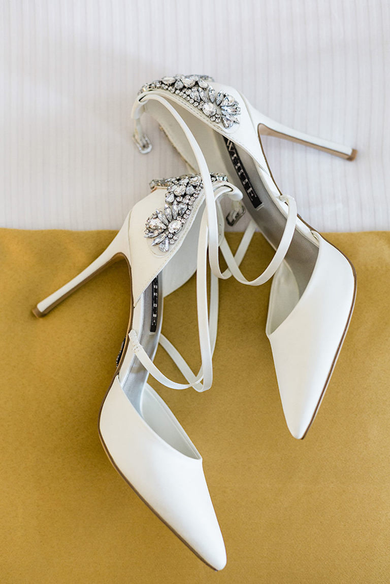 Elegant, White High Heel Pointed Toe Wedding Shoes, Rhinestone Embellishments