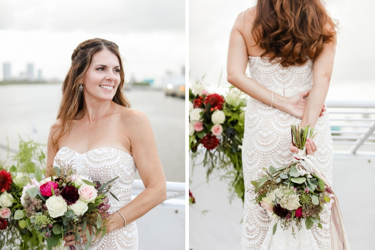 Romantic Florida Bride Wedding Portrait in Sweetheart Neckline Strapless Lace Wedding Dress Holding White Roses, Blush Pink, Burgundy and Greenery Floral Bridal Bouquet | Tampa Bay Wedding Photographer Lifelong Photography Studio