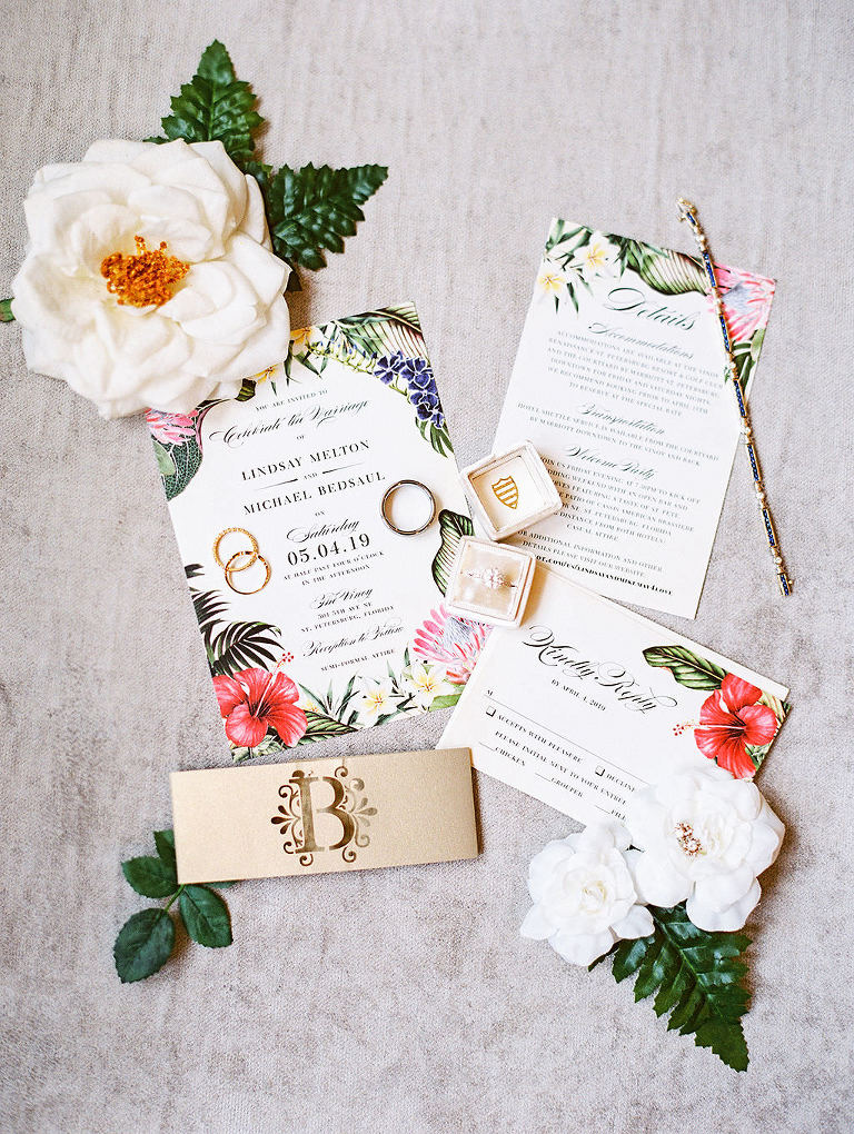 Tropical Floral Wedding Invitation Suite, Bride Engagement Ring in Velvet Ringbox Flatlay Portrait