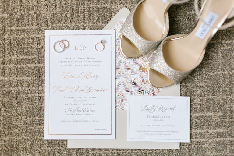 Modern Elegant Gold Foil Wedding Invitation Suite, Engagement and Wedding Rings, Gold Champagne Glitter Jimmy Choo Wedding Shoes | Tampa Bay Wedding Invitation Designers A&P Designs