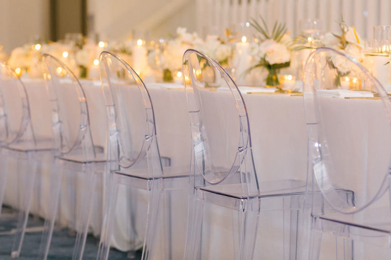 Elegant Modern Wedding Reception Decor, Clear Acrylic Ghost Chairs | Tampa Bay Wedding Rentals Kate Ryan Event Rentals | Wedding Planner Parties A'La Carte