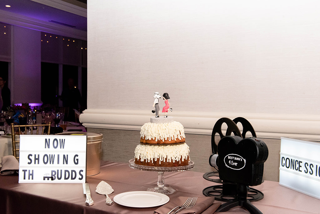 Clearwater Beach Classic Old Hollywood Inspired Wedding Reception Decor, Custom Lightboxes, Old School Movie Making Camera, Two Tier White Frosted Bundt Cake with Custom Star Wars Dancing Cake Toppers