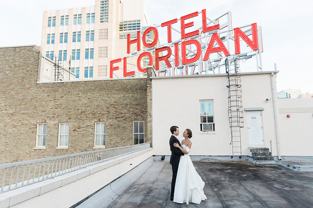 Timeless Downtown Tampa Bride and Groom, Classic Hotel Floridan Wedding Portrait Tampa Bay Wedding Planner Coastal Coordinating | Historic Downtown Tampa Wedding Venue Hotel Floridan Palace Hotel