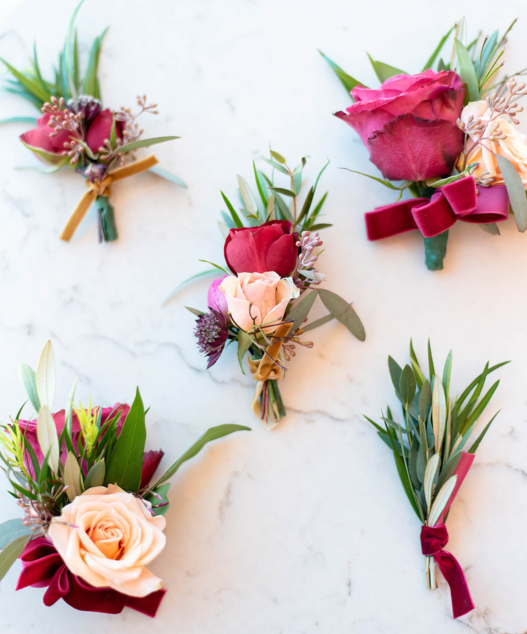 Colorful Red and Blush Pink Rose, Velvet Red Ribbon and Greenery Floral Groom Boutonniere