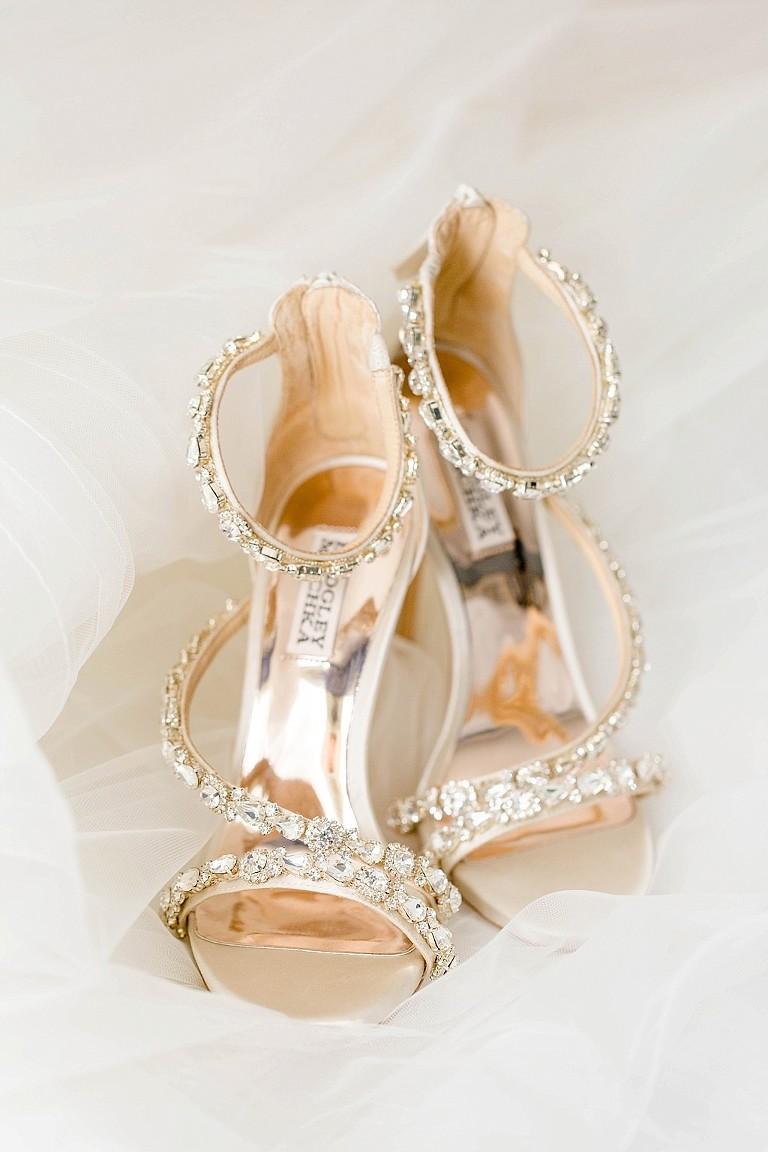 Champagne Gold and Rhinestone Strappy Sandal Wedding Heel Badgley Mischka Shoes