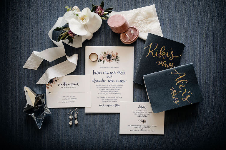 Classic Floral White and Navy Blue Wedding Invitation Suite | Bride and Groom Navy Blue and Gold Wedding Vows Books, Blush Pink Velvet Ring Box with Bride Engagement Ring and Wedding Band, Bride Wedding Accessories