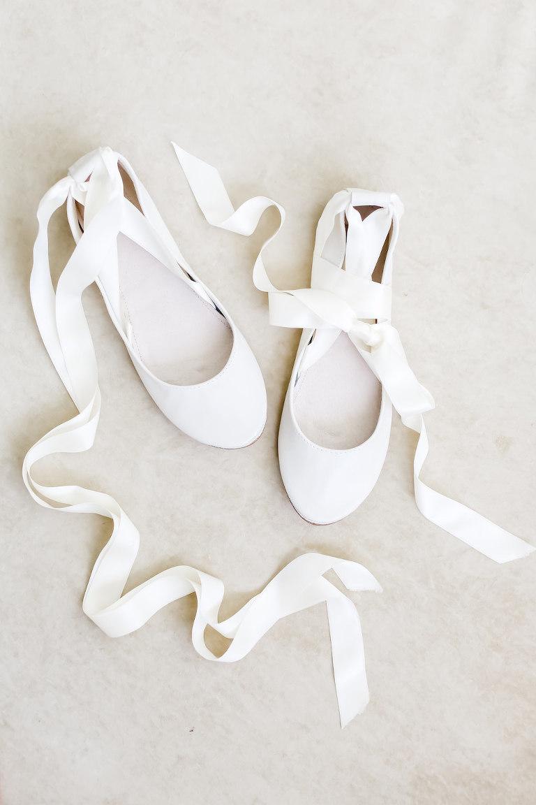 White Ballet Flats Bride Wedding Shoes | Tampa Bay Wedding Photographer Lifelong Photography Studio
