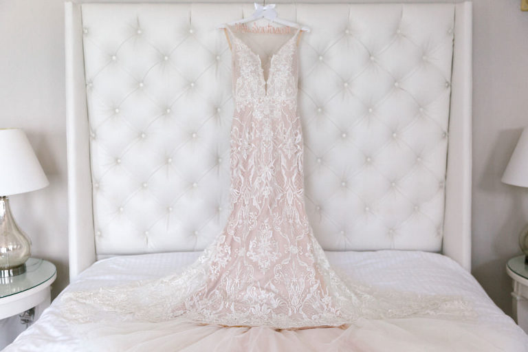 Classic Modern White Lace and Blush Pink Deep V Neckline Galia Lahav Wedding Dress