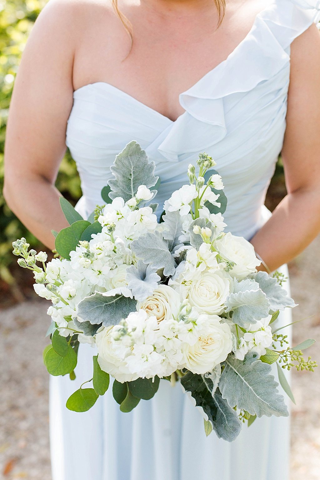 White Ivory Dusty Miller And Greenery Floral Bouquet
