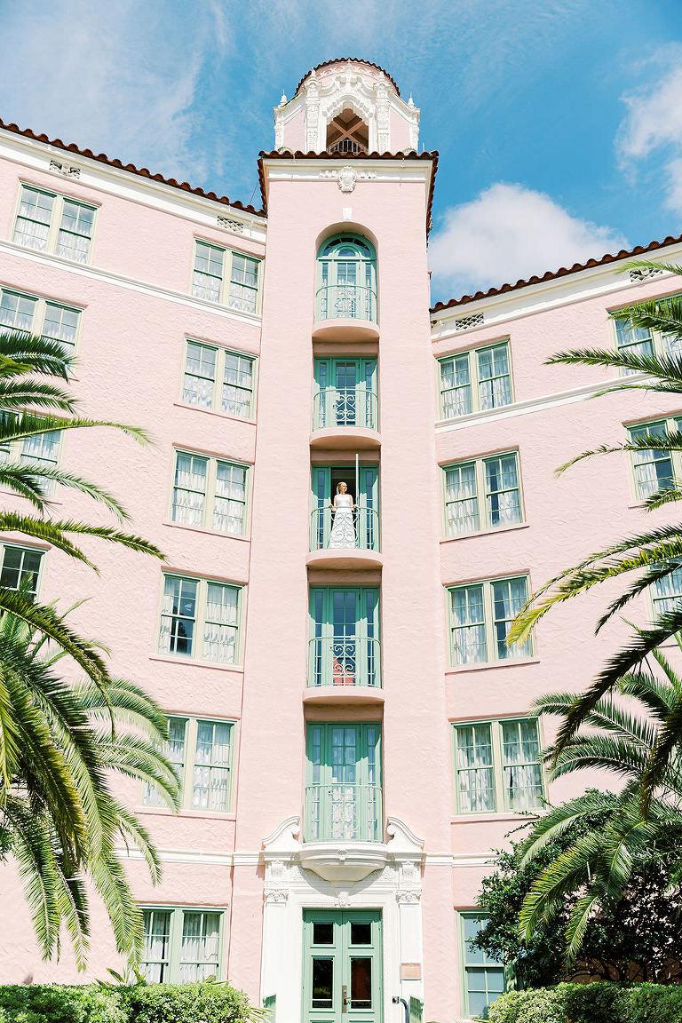 Bride on Balcony of Tropical, Florida Resort Waterfront Wedding Venue   The Vinoy Renaissance St. Petersburg Resort & Golf Club
