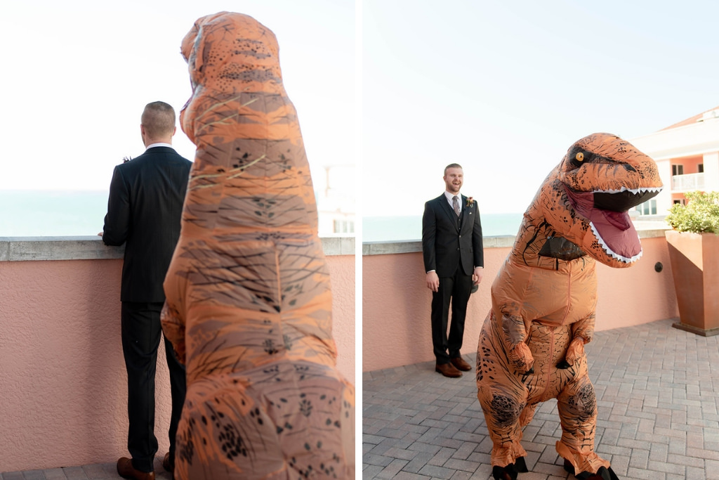 Creative Fun Wedding Prank on Groom | Rooftop Wedding Portrait with Dinosaur | Clearwater Beach Wedding Venue Hyatt Regency