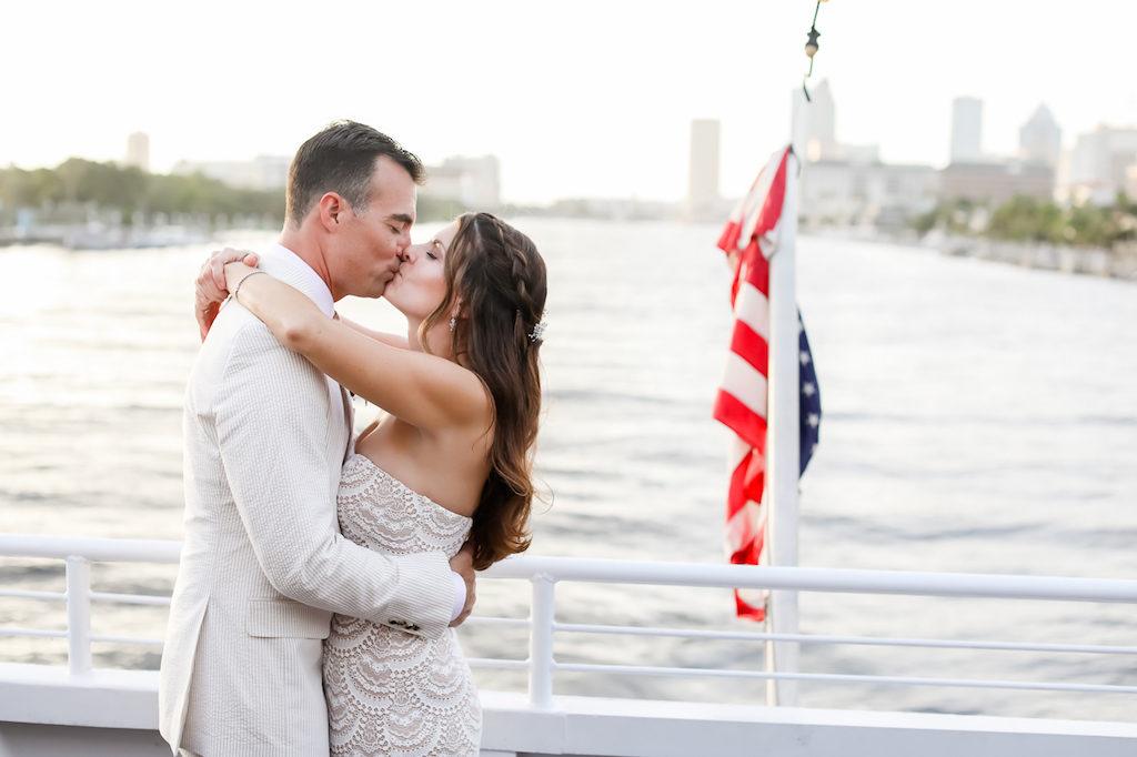 Romantic Bride and Groom Kissing Wedding Portrait | Tampa Bay Wedding Photographer Lifelong Photography Studio | Clearwater Beach Waterfront Wedding Venue Yacht Starship