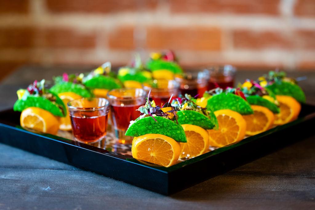 Beyond Mini Vegan Tacos with Orange Fruit Garnish | Best Tampa Bay Wedding Caterer Elite Events Catering | Grind & Press Photography