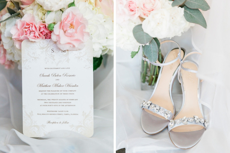 Elegant Classic Wedding Invitation | Silver Rhinestone Strappy Sandal Heel Wedding Shoes