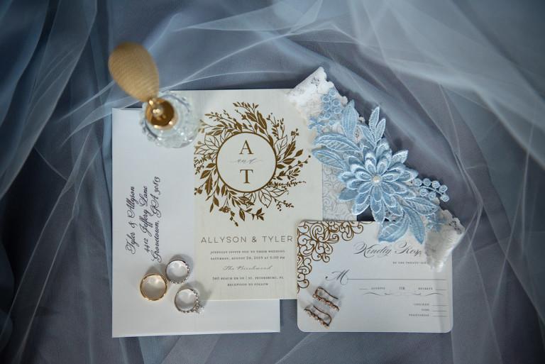 Elegant Gold Foil Wedding Invitation Suite with Modern Floral Design, Lace Bridal Garter with Something Baby Blue Floral Embellishment