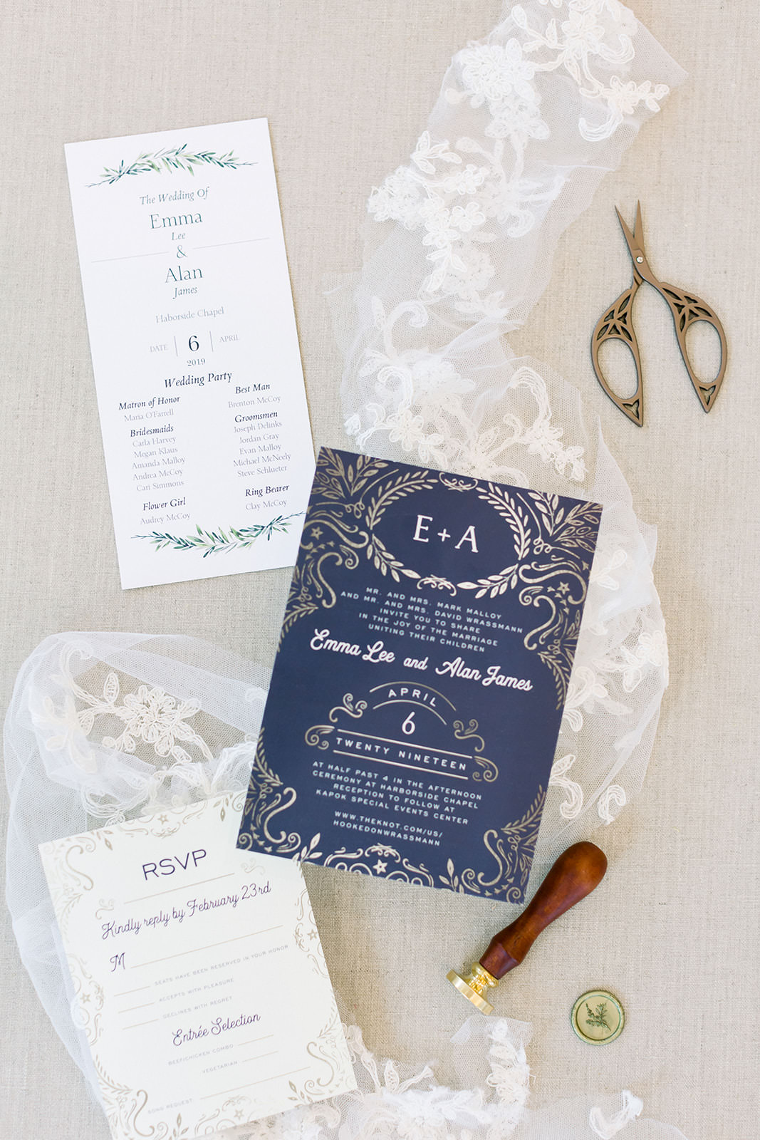 Luxurious Dark Blue Wedding Invitation Suite with Gold Foil Detailing | Tampa Bay Wedding Photographers Shauna and Jordon Photography