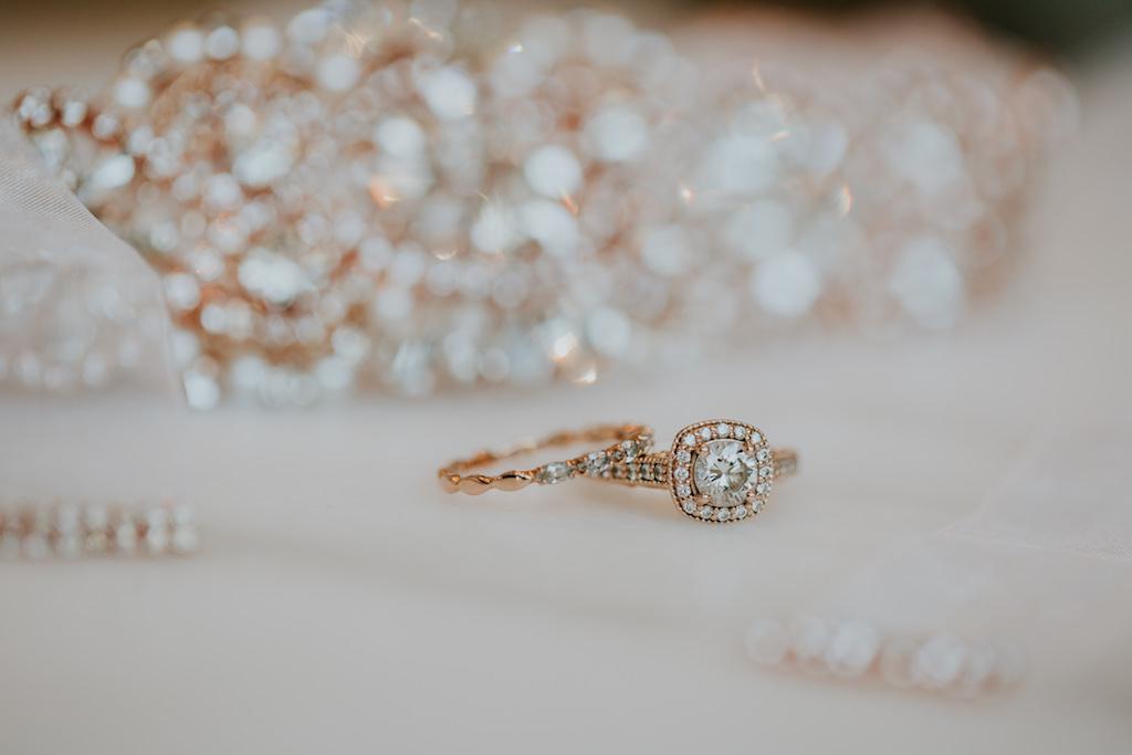 Rose Gold Diamond Bridal Wedding Ring and Engagement Ring Portrait