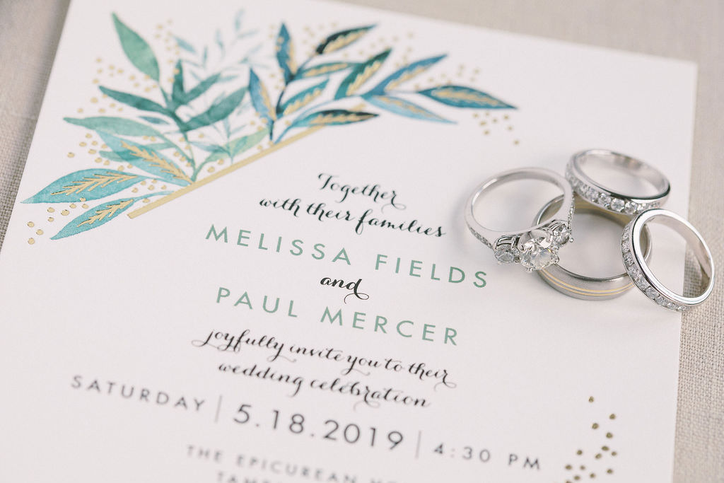 Classic Rustic Elegant Green Leaf Watercolor with Gold Foil Accents Wedding Invitation and Bride Engagement Ring, Wedding Ring and Groom Wedding Ring | Minted Wedding Invite Ideas