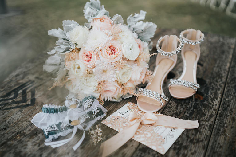 Blush Pink and White Roses, Dusty Miller Floral Bridal Bouquet, Rhinestone Strappy Sandal Wedding Shoes, Philadelphia Eagles Football Team Garter, Blush Pink Lace Wedding Invitation