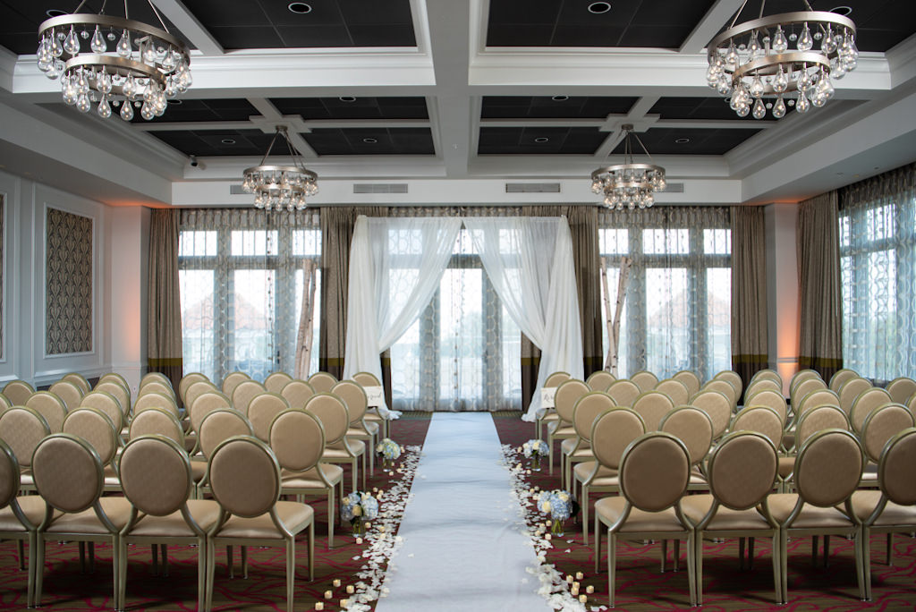 Classic Florida Wedding Ceremony Decor in Modern Ballroom, With White Draping, Aisle Runner and Flower Petals   St. Pete Boutique Hotel Wedding Venue The Birchwood   Tampa Bay Wedding Planner Coastal Coordinating