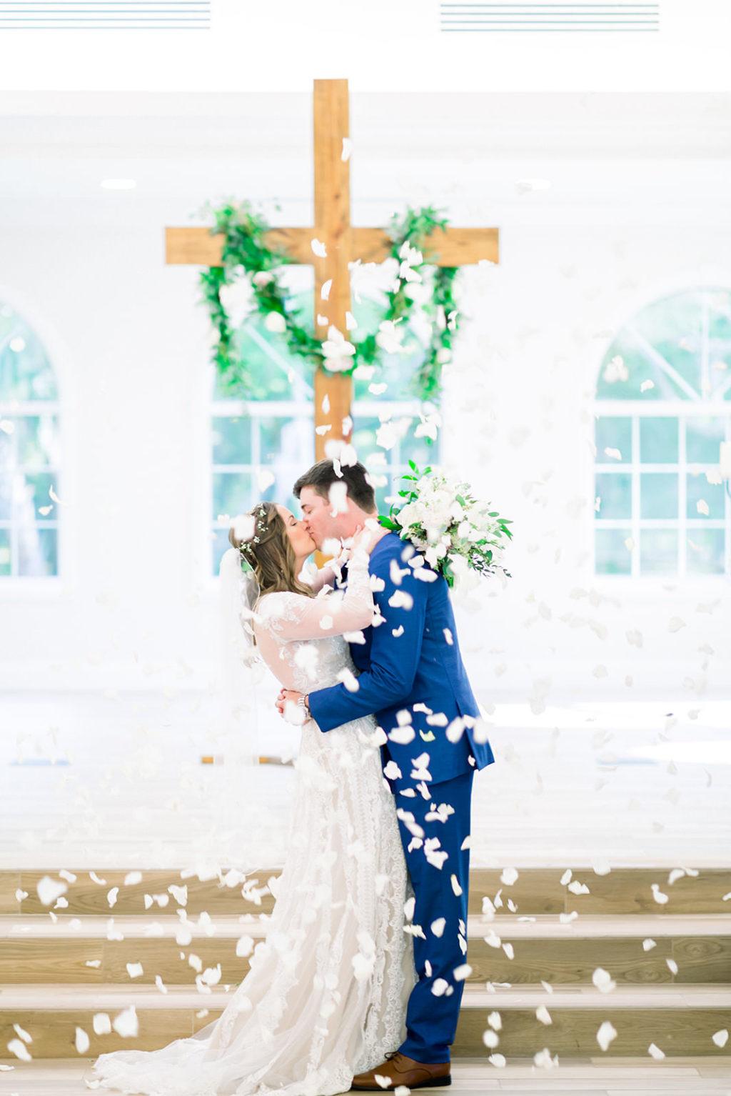 Florida Bride and Groom Intimate First Kiss Wedding Portrait | Tampa Bay Wedding Ceremony Venue Harborside Chapel | Tampa Bay Wedding Photographers Shauna and Jordon Photography