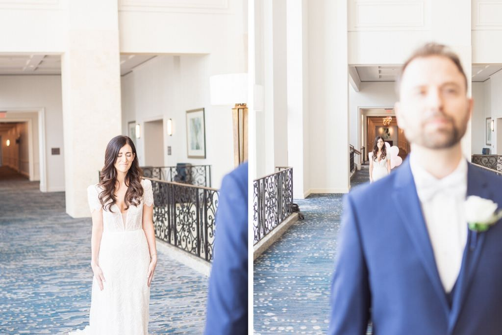 Tampa Bride and Groom Hotel Hallway First Look Wedding Portrait   Wedding Hair and Makeup Femme Akoi
