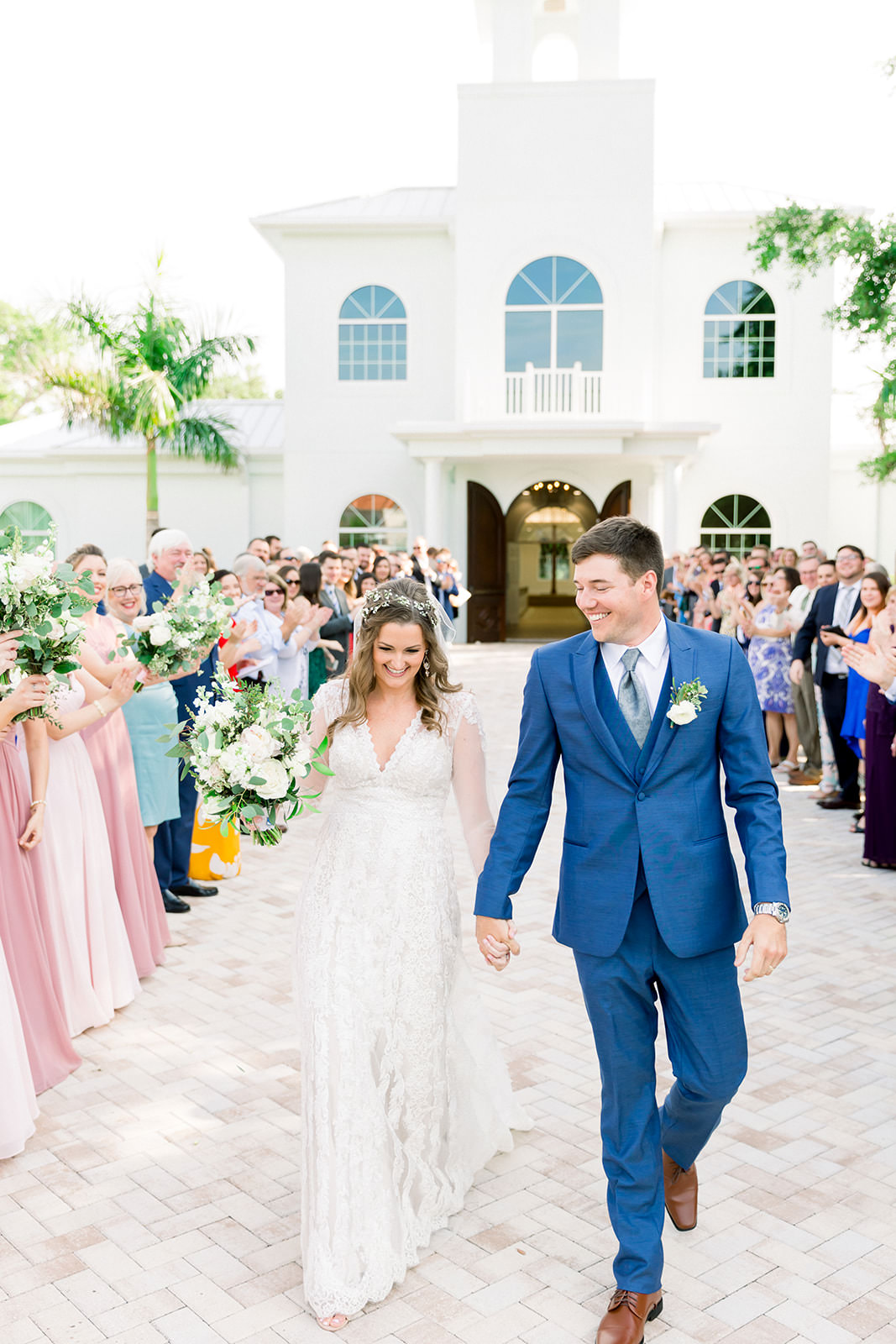 Boho Inspired Florida Bride and Groom Just Married Wedding Exit Processional | Tampa Bay Wedding Ceremony Venue Harborside Chapel | Tampa Bay Wedding Photographers Shauna and Jordon Photography
