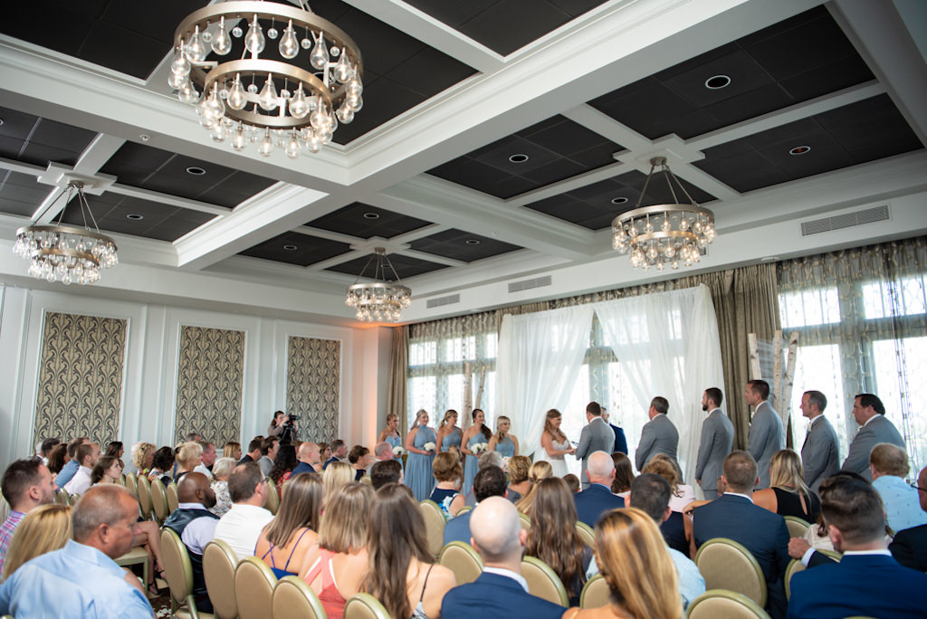 Elegant, Modern Downtown St. Pete Hotel Ballroom Wedding Ceremony Portrait of Bride and Groom Exchanging Vows   Florida Boutique Hotel Wedding Venue The Birchwood   Tampa Bay Wedding Planner Coastal Coordinating