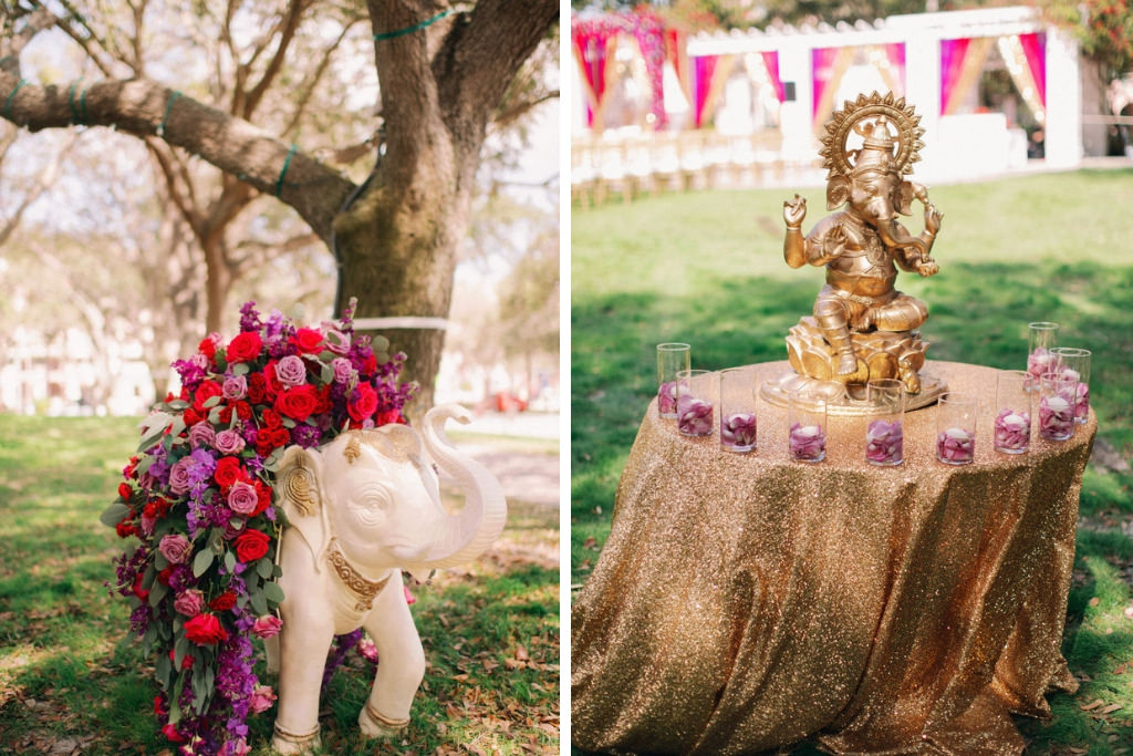Traditional Indian, Hindu Wedding Ceremony Decor, White and Gold Elephant Statue with Red, Purple, Lilac, Plum and Greenery Floral arrangement, Round Table with Gold Glitter Linen, Gold Ganesha Elephant God Statue | St. Petersburg Wedding Venue North Straub Park | Indian Wedding Inspiration