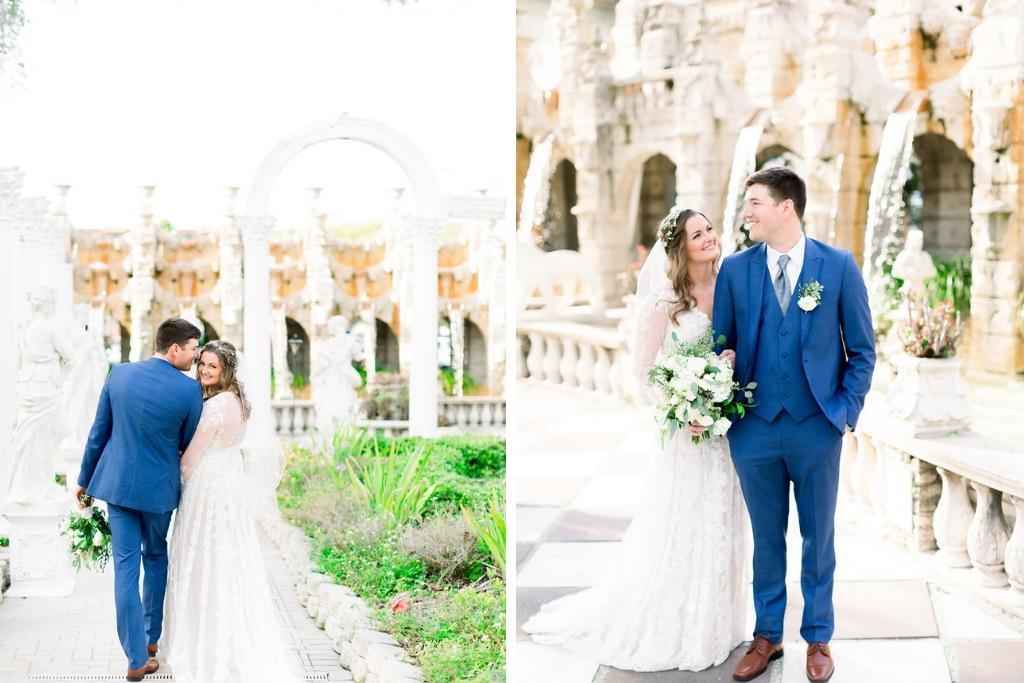 Boho Inspired Florida Bride and Groom in Outdoor Garden Courtyard, Groom in Navy Suit | Tampa Bay Wedding Photographers Shauna and Jordon Photography