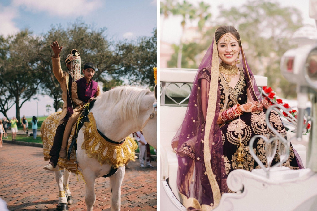 Traditional Indian, Groom Riding Horse Entering Wedding Reception in Black and Gold Sherwani and Turban, Bride in Extravagant Gold Bridal Jewelry, Purple Velvet and Gold Custom Lehenga Riding in Carriage | St. Petersburg Wedding Venue North Straub Park