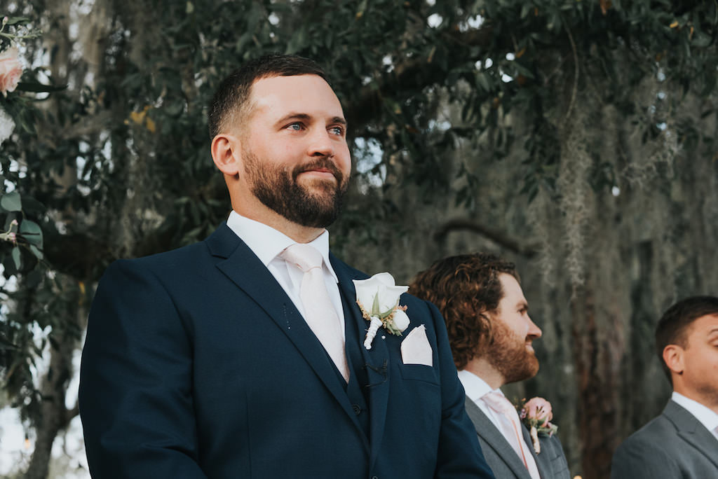 Tampa Groom Reaction to Bride Walking Down the Aisle Wedding Ceremony Portrait